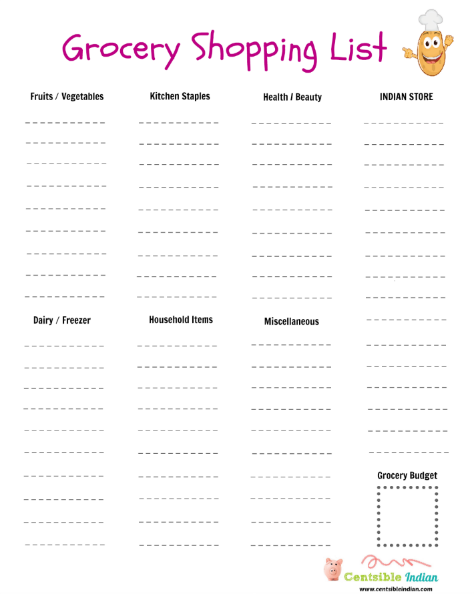 printable grocery shopping list centsible indian